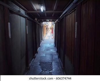 KYOTO / JAPAN – March 8, 2017: An alley image at the Shijyo Hanamikohji east side in Gion, Kyoto, Japan.