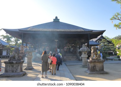 KYOTO JAPAN - MAY 04, 2018: Unidentified people visit Chionji temple in Amanohashidate. Chionji Temple is a part of Rinzai School of Japanese Zen housing one of 3 Important Statues of Monju Bosatsu.