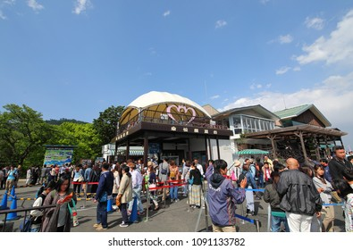KYOTO JAPAN - MAY 04, 2018: Unidentified people visit Amanohashidate Kasamatsu park Kyoto Japan. Amanohashidate is one of Japan's best three scenic views.