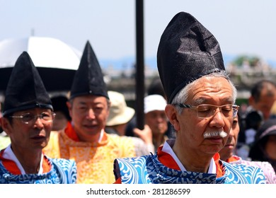KYOTO, JAPAN - MAY 17: Mifune Festival at May 17, 2015 in Kyoto, Japan. This is a medieval event held upon receiving the Emperor on his visit to this land.
