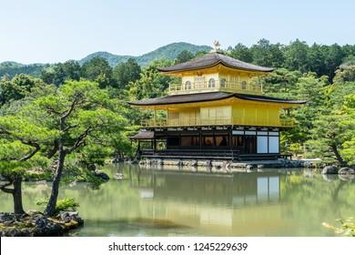 KYOTO, JAPAN - MAY 21, 2018: Day scene of Golden pavilion at Kinkakuji temple in Kyoto.
