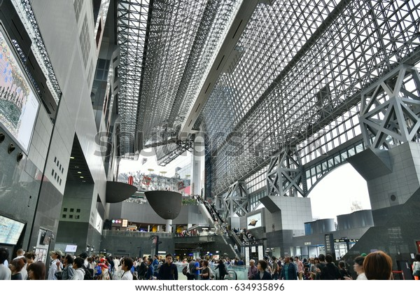 KYOTO, JAPAN - May 5, 2017. The beautiful interior of the Kyoto Station. Kyoto Station is a major railway station and transportation hub in Kyoto, Japan.