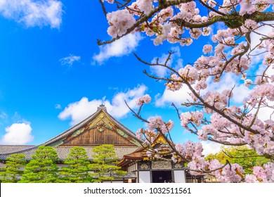 """Kyoto, Japan at the Ninomaru Palace of Nijo Castle during spring season. (sign reads: """"Ninomaru Palace"""")"""