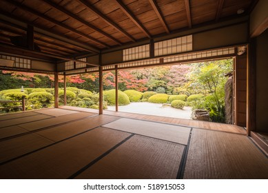 Kyoto, Japan - Nov 11, 2016 : The beautiful of Zen Karayo Janapese garden of Shisen-do temple. People can enjoy the view of season changing by sitting on Tatami mat at the balcony.