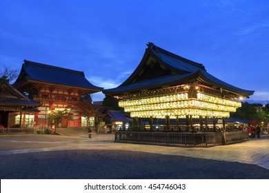 KYOTO, JAPAN -NOV 22, 2012: Japanese paper lanterns illumination at night around the Buden Hall in Yasaka Jinja shrine. Founded over 1350 years ago, here is one of most famous shrines in Kyoto.