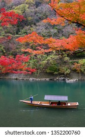 Kyoto, Japan - Nov 24, 2018: Arashiyama and Katsura river is the famous destination for tourist in autumn of japan.Many tourists come to see the beautiful autumn colors near the river.