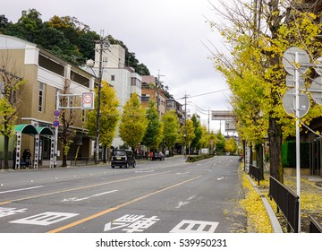Kyoto, Japan - Nov 28, 2016. Vehicles running on street at downtown in Kyoto, Japan. Kyoto is also known as the thousand-year capital.