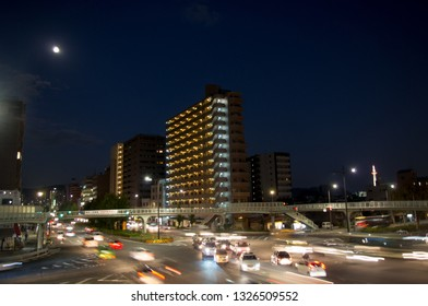 Kyoto, Japan - November 15, 2013: Streets of residential area of Kyoto at night