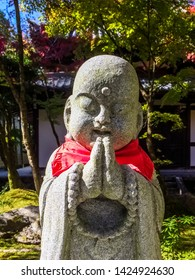 Kyoto, Japan - November 15, 2018: cute and calm Jizo bosatsu statue in Zenrinji Eikando buddhist temple in Higashiyama area