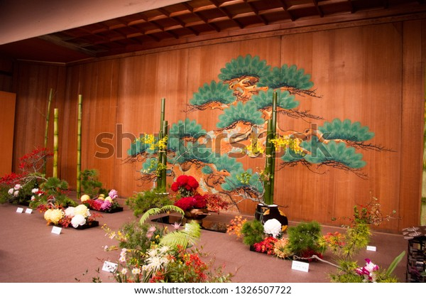 Kyoto, Japan - November 16, 2013: Ikebana exhibition in Kyoto