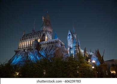 KYOTO, JAPAN - NOVEMBER 17, 2016 : night scene of Hogwarts castle the wizardry school from Harry Potter Movies in Universal Studios Japan