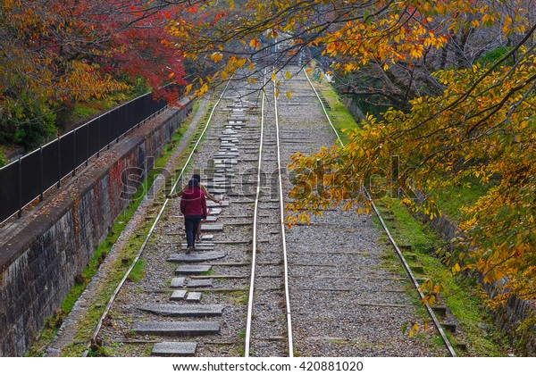 KYOTO, JAPAN - NOVEMBER 22 2015: Behind Nanzenji's aqueduct along a small canal to the Keage Incline. This slope is one of the best cherry blossom spots in Kyoto