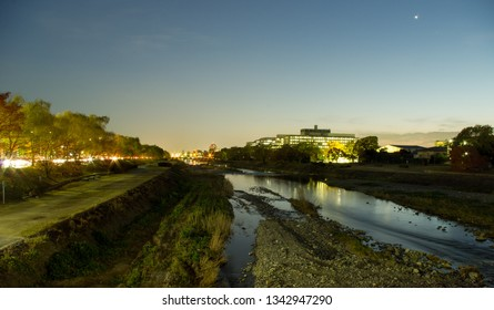 Kyoto, Japan - November 23, 2013: Night view on Kamogawa river - main river of Kyoto