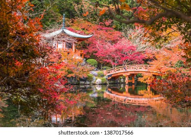 Kyoto, Japan - November 23, 2018: The Bentendo Hall is famous for the beautiful colored leaves in the fall when maples and ginkgos turn red and yellow.