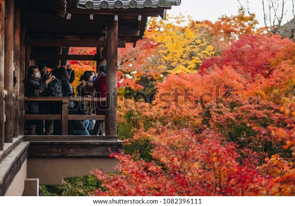 KYOTO, JAPAN - NOVEMBER 24, 2017: Crowd traveler celebrate the autumn maple leave festival at Tofukuji Temple to in Kyoto, Japan.