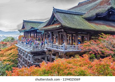 KYOTO, JAPAN - NOVEMBER 24: Kyomizu-dera on November 24, 2015 in Kyoto, Japan. It was built in 1633, is one of the most famous landmark of Kyoto with UNESCO World Heritage.