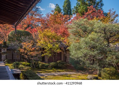 Kyoto, Japan - November 27, 2015 : The japan garden at  Eikando temple in autumn.Eikando temple is one of the most popular tourist at Kyoto in high season ( Momiji), Kyoto, Japan.