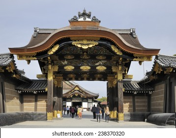 KYOTO, JAPAN - NOVEMBER 8, 2014: Tourists at the entrance gate of Nijo Castle. This an UNESCO World Heritage site and built in 1626. November 8, 2014 Kyoto, Japan