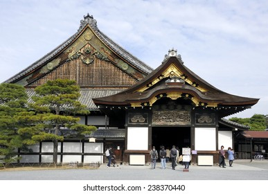 KYOTO, JAPAN - NOVEMBER 8, 2014: Tourists at Nijo Castle. This is an UNESCO World Heritage site and built in 1626. November 8, 2014 Kyoto, Japan