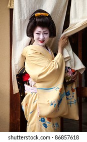 KYOTO, JAPAN - NOVEMBER 8: Geisha by the entrance to a teahouse in the Gion district on November 8, 2010 in Kyoto, Japan. Geisha perform ceremonies and entertain through classical music and dance.