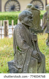 Kyoto, Japan - November 9, 2017 : Arashiyama Arhat. 500 Statues of the closest and highest disciples of Buddha in front of Hogon-in sub-temple of Tenryu-ji.
