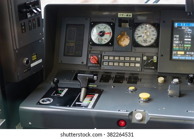 KYOTO - JAPAN, November 9,2015 : Detail interior of Japan train controller car dashboard speedometer