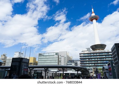 Kyoto Japan - Oct 2017 - A kyoto tower in blue sky day