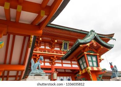 Kyoto, Japan - October 18, 2018: Fushimi Inari Taisha is the head shrine of the god Inari, located in Fushimi Ward in Kyoto, Japan.