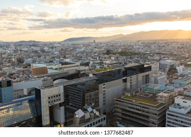 Kyoto, Japan - October 19, 2018: High angle view of Kyoto Japan, view from Kyoto tower.