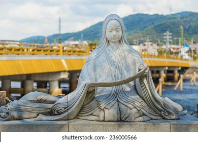 KYOTO, JAPAN - OCTOBER 21: Murasaki Shikibu statue in Kyoto, Japan on October 21, 2014. Japanese novelist, poet and lady-in-waiting during Heian period, best known as the author of The Tale of Genji