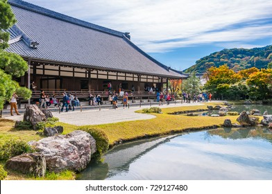 KYOTO, JAPAN - OCTOBER 27, 2015: People at Tenryuji's Garden, Arashiyama, Kyoto. Tenryuji was built in 1339 by the ruling shogun Ashikaga Takauji.