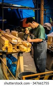 KYOTO, JAPAN - OCTOBER 5, 2015:  Carpenter in temple at KYOTO,JAPAN 2015