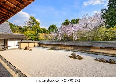 Kyoto, Japan the Ryoan-ji Temple zen rock garden in the spring.