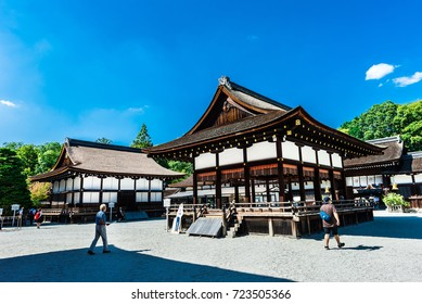 Kyoto, Japan - September 26, 2017: Shimogamo shrine is one of the oldest shinto shrines in Kyoto, Japan. Its formal name is Kamo-mioya-jinja.