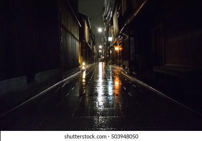 Kyoto, Japan. Street in Gion district during a rainy night.