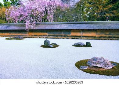 Kyoto, Japan - zen stone garden at Ryoanji (Ryoan-ji) Temple. Buddhist zen temple of Rinzai school.