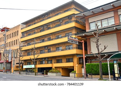 KYOTO, JP - APR. 12: Japanese homes apartment facade on April 12, 2017 in Kyoto, Japan. Kyoto, once the capital of Japan, is a city on the island of Honshu.