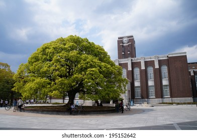 KYOTO - MAY 11 : The clock tower of Kyoto University in Japan on May 11, 2014. The clock tower is known as a symbol of Kyoto University, which is the second highest university in Japan.