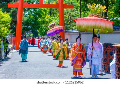 KYOTO - MAY 15 : Participants in Aoi Matsuri in Kyoto, Japan on May 15 2018. Aoi Mastsuri is one of the three main annual festivals held in Kyoto, Japan