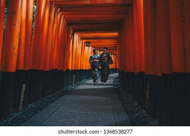 Kyoto - Nov. 20, 2018: Japanese wearing kimono visiting Tori Gates in Fushimi Inari (Photo Filter)