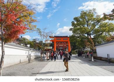 Kyoto - Nov. 20, 2018: Visitors are seen entering Fushimi Inari shrine