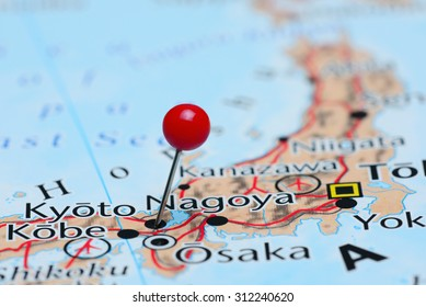 Kyoto pinned on a map of Asia