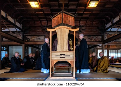 KYOTO PREFECTURE, JAPAN - NOVEMBER 18, 2015: Buddhist monks are during ceremony at the temple in Kyoto Prefecture, Japan