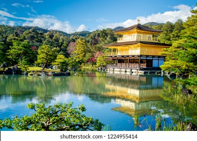 Kyoto Travel to Kinkakuji temple or Golden Pavilion (Kinkaku-ji) in Kyoto, Japan on November end of Autumn season.