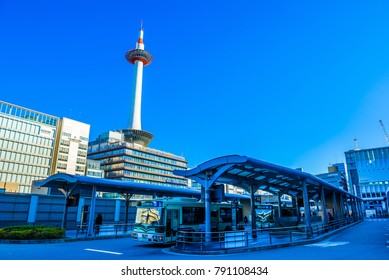 Kyoto,Japan - December 18, 2017: Kyoto Tower in Kyoto, Japan.It is Kyoto's tallest structure.