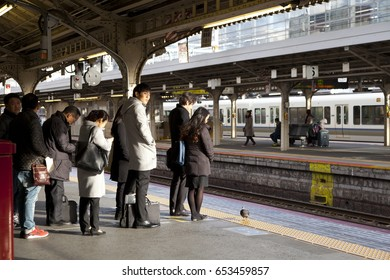 KYOTO,JAPAN - FEBRUARY 2,2017 : People waiting for the train in station in Kyoto,Japan on February 2,2017.