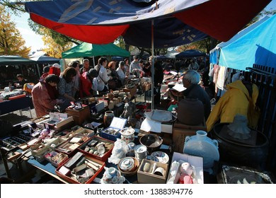 Kyoto,Japan, November 21 2014: people set up the store in To-ji  market in Kyoto . To ji market or East temple market is the flea market in Day 21 only in each month