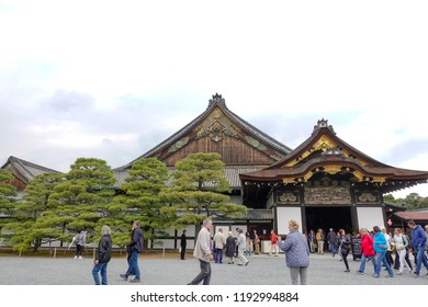 KYOTO,JAPAN-APRIL 9: Nijo Castle facade on April 9,2018 in Kyoto,Japan. It is one of the seventeen Historic Monuments of Ancient Kyoto which have been designated by UNESCO as a World Heritage Site.
