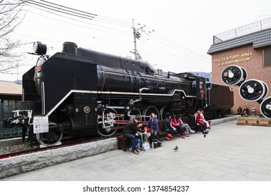 KYOTO,JAPAN,MAR 25-2019:Steam locomotive of part D51 (part), locomotive famous locomotives, locomotives used in 1935 - 1950 at JR Saga-Arashiyama Station,kyoto,japan