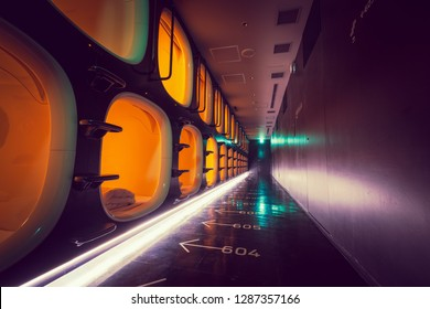 KYOTO,JAPAN-NOV 25,2018: Interior or 9 hours capsule hotel. The idea behind this trendy capsule hotel in Kyoto is that you get to sleep for '9 hours'